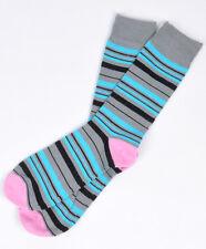 Bari Menswear Gray Blue Colorful Stripe Dress Socks - $18 Retail - Brand New