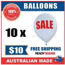 SALE - Double Sided White Balloons - Printed Red Text - Pack of 10