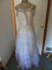Vintage 70's Prom Dress Southern Belle XS Blue/White/Purple