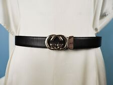 VINTAGE GUCCI GOLD TONE CROSSING LOGO LEATHER BELT