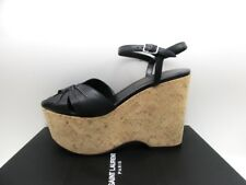 Saint Laurent YSL Candy 55 Black Cross Cork Wedge Platform Sandals 39 9