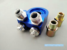 Blue Universal Aluminum Oil Cooler Kit Adapter Sandwich AN10 Fitting Turbo Plate