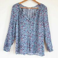 Lucky Brand Womans Boho Peasant Blouse Long Sleeve Paisley Blue Pink SMALL