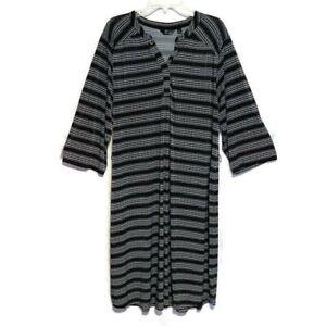 Mlle Gabrielle Dress Slinky Knit 3/4 Sleeve Split Neck Stretch Self Belt Size 3X