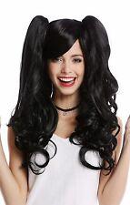 Perruque Pour Femme Cosplay 2 Pigtails long ondulés Gothique Lolita Japon noir