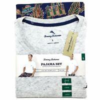 Tommy Bahama Mens Size L XL Grey Heather Scenic Print Pajama 2-Piece Set NWT $78