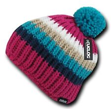 Hot Pink Blue Warm Woven Winter Sweater Pom Pom Cable Slouch Knit Beanie Hat Cap