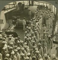 WW1 Stereoview. Marines & Sailors Dispersing after an Assembly Aft Battleship