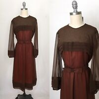 Vintage 70s Chiffon Formal Sheer Dress Size Small