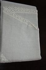 """natural authentic vintage lithuanian 100%linen round flex tablecloth 88.5"""" diam."""