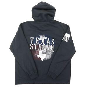 "Nine Line Apparel Men XL 50"" Texas Strong Pullover Hoodie Sweatshirt Black Flag"