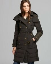 Authentic Burberry Woman Long Down Coat With Belt Rewoble Hat Size Small Black