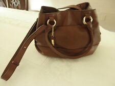 Cole Haan Brown Leather Crossbody Satchel with Adjustable Strap and Handles