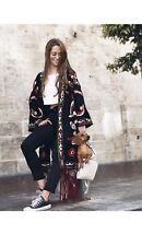 ZARA BLACK EMBROIDERED KIMONO WITH FRINGING SIZE M - L BNWT