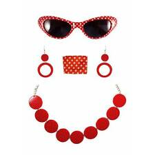 RED 1950s Rock N Roll Grease Fancy Dress Polka Dot Kit Glasses Scarf Earrings