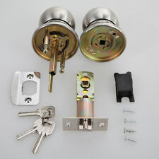 Stainless Steel Round Door Knobs Handle Entrance Passage Lock Key Deadbolt Set
