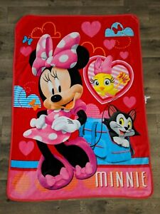 MINNIE MOUSE Figaro Cockoo-Loca Fleece Throw Blanket Pink Disney NorthWest