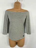 WOMENS SUPERDRY GREY & WHITE STRIPE BARDOT OFF THE SHOULDER CASUAL SUMMER TOP XS