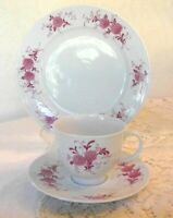 Seltmann Weiden Annabel Porcelain Plate TRIO SET of 3, Pink Floral Shabby CHIC