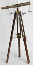 "Nautical Brass Telescope With Wooden Tripod Stand 14"" Marine Maritime Spyglass"