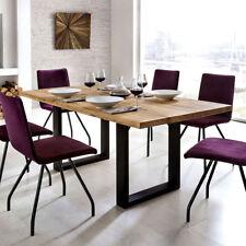 Esstisch Quebec 220x100 cm Tisch in Eiche rustik Massivholz geölt Metall schwarz