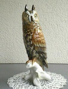 Große ENS Porzellanfigur Eule 27 cm Uhu Vogel Thüringen Porzellan Tier Figur