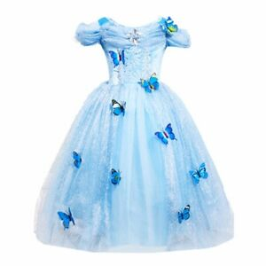 Cinderella Princess#2 Butterfly Party Dress kids Costume Dress for girls 2-10 Y