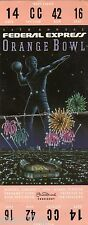 1989 1990 ORANGE BOWL FULL TICKET STUB NOTRE DAME COLORADO