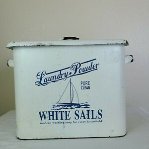 Vintage White Sails Laundry Powder Canister Box Metal Enamel Farmhouse Amazing!