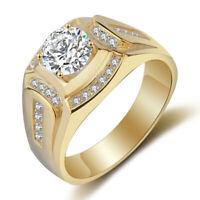 Anillo chapado en oro de 18 quilates Anillo de los hombres de diamante de z F7X8