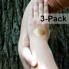 Gold Key and Lock Temporary Tattoos Metallic Foil Flash Tattoo Stickers 3 Pack