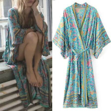 Boho Women Kimono Sleeve Floral Swimming Beach Cardigan Open-front Maxi Dress Green UK 8