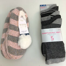 M&S Ladies Fleece Lined Ballet Slippers And 5 Pack Socks Size 3-5 UK