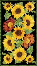 "Sunflowers Autumn Sun Cotton Fabric Flowers of the Sun Wilmington 24""X44"" Panel"