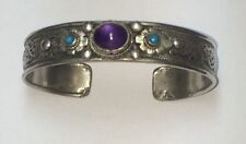 Silver Color Metal Bracelet. Filigree, Amethyst Stone & Etched Dragon Inside!