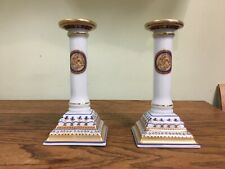 Mottahedeh Chinoise Blue Candlestick Pair