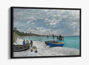 CLAUDE MONET THE BEACH AT SAINTE ADRESSE -FLOAT EFFECT CANVAS WALL ART PIC PRINT