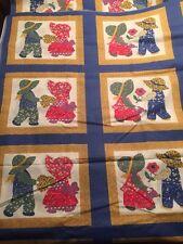 """Vintage Preprinted Quilt Top Fabric 108x92"""" Sunbonnet Babies Pattern"""