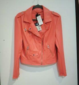 BNWT Guess Coral Faux Leather Biker Jacket Size L