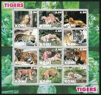 Souvenir sheet of 12 MNH stamps Tigers.Tiger.Wild cats.WWF 2004
