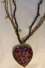 Betsey Johnson Red Leopard Heart Triple Strand Necklace