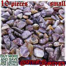 10 Small 10mm Combo Ship Tumbled Gem Stone Crystal Natural - Agate Crazy Lace