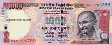India 1000 Rs Tactile Mark Novel Number 2015 No Inset Paper Money Note Unc New