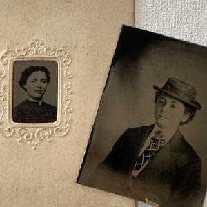 Antique Tintype Photograph Beautiful Young Woman Crossdressing Gay Lesbian Int