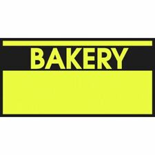 """Monarch Yellow Labels With Reversed Black Print """"Bakery"""" For 1110 1-Line Pricing"""