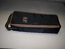 BLACK WITH BROWN ZIPPERED STORAGE CASE FOR CASSETTE TAPES  *HOLDS 15 TAPES*  #10