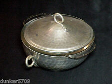 FIRE KING 1 1/2 QUART CLEAR GLASS BOWL WITH METAL BASE & LID 8 INCH W/ HANDLES