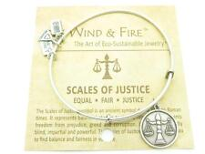 Wind and Fire Scales Of Justice Charm Wire Bangle Stackable Bracelet Made In USA