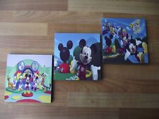 MICKEY MOUSE CLUBHOUSE CANVAS WALL ART PLAQUES/PICTURES SET - FREE POSTAGE