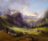 Dream-art Oil painting wild animal in landscape & morning mountains hand painted